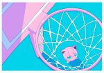 absurdres basketball_hoop blue_eyes border bright_pupils commentary_request from_above gen_1_pokemon highres jigglypuff looking_up no_humans pokemon pokemon_(creature) saiku_(zvlku) shiny solo standing white_border white_pupils