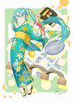 1girl :> agonasubi aqua_nails bangs black_footwear blush border bridge bright_pupils commentary_request eyebrows_visible_through_hair floral_print flower food fruit green_background green_kimono hair_between_eyes hair_flower hair_ornament hand_up hatsune_miku highres holding japanese_clothes kimono long_hair long_sleeves looking_at_viewer mandarin_orange nail_polish obi one_eye_closed patterned_background sandals sash shiny shiny_hair sidelocks signature smile solo sushi sushi_geta tabi twintails very_long_hair vocaloid white_flower white_pupils wide_sleeves