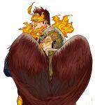 2boys beard blue_eyes boku_no_hero_academia facial_hair feathered_wings fiery_hair fire from_side hawks_(boku_no_hero_academia) highres jo_tuesday19 male_focus mature_male multiple_boys red_wings redhead scar scar_across_eye short_hair sideburns smirk spiky_hair todoroki_enji wings