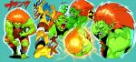 blanka blue_hair fang green_skin kicking male muscle orange_hair orushibu street_fighter yellow_skin