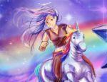 katawa_shoujo long_hair lowres rainbow robot_unicorn_attack scar star unicorn