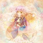 cape dress flower gradient_hair hijiri_byakuren long_hair magic_circle michii_yuuki multicolored_hair scroll solo touhou yellow_eyes