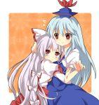 2girls bin-pu blush fujiwara_no_mokou hat hug kamishirasawa_keine multiple_girls red_eyes touhou yuiki_(cube)