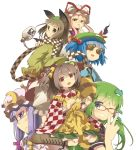 6+girls animal_ears bell blue_hair boots brown_hair checkered_scarf checkered_shirt crescent fang frog_hair_ornament futatsuiwa_mamizou gap glasses gourd green_eyes hair_bell hair_bobbles hair_ornament hat kawashiro_nitori key kochiya_sanae leaf leaf_on_head motoori_kosuzu multiple_girls ooide_chousuke open_mouth patchouli_knowledge pince-nez purple_hair raccoon_ears raccoon_tail red-framed_glasses red_eyes short_hair simple_background smile snake_hair_ornament tail touhou twintails violet_eyes white_background wink yakumo_yukari yellow_eyes