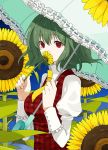 bust covering_face covering_mouth daisy flower green_hair hands holding holding_flower kazami_yuuka kintaro necktie parasol plaid_vest puffy_sleeves red_eyes short_hair smelling_flower solo sunflower touhou umbrella vest