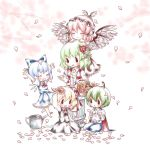 antennae arms_up ascot basket bow cape cherry_blossoms chibi chin_on_head chin_rest cirno closed_eyes column daisy earrings flower flower_wreath hair_bow hair_flower hair_ornament happy head_wings jewelry jumper kazami_yuuka kuromame_(8gou) mystia_lorelei outstretched_arms petals pillar red_rose rose rumia sitting skirt skirt_set team_9 touhou vest watering_can white_background wings wriggle_nightbug |_|