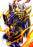 1boy alternate_color armor armored_boots aura boots breastplate commentary_request emon-yu feet_out_of_frame garter_straps glowing glowing_eyes helmet looking_at_viewer magic male_focus pauldrons purple_armor ragnarok_online royal_guard_(ragnarok_online) shield shoulder_armor simple_background solo white_background