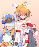 +_+ 2girls :o ahoge animal_on_head bear blaster_master_zero blaster_master_zero_3 blonde_hair blue_eyes breasts character_request commentary covered_navel eve_(blaster_master_zero) gloves hair_over_eyes hat height_difference light_blue_hair long_hair long_sleeves looking_at_viewer multiple_girls navel on_head red_gloves ribbon shirt skin_tight small_breasts smile tagme usapenpen2019 white_shirt