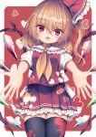 1girl arms_up bangs black_legwear blonde_hair blood border bow breasts collar crystal darumoon eyebrows_visible_through_hair flandre_scarlet hair_between_eyes hair_ribbon hands_up heart highres jewelry looking_at_viewer medium_breasts multicolored multicolored_wings no_hat no_headwear open_mouth ponytail puffy_short_sleeves puffy_sleeves red_background red_eyes red_ribbon red_skirt red_vest ribbon shirt short_sleeves skirt solo standing thigh-highs touhou vest white_border white_bow white_shirt white_sleeves wings yellow_neckwear