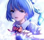 1girl bangs blue_background blue_bow blue_dress blue_eyes blue_hair bow buttons cirno collar dress eyebrows_visible_through_hair hand_up highres ice ice_wings light looking_at_viewer mozuno_(mozya_7) puffy_short_sleeves puffy_sleeves red_bow red_neckwear shadow shirt short_hair short_sleeves solo touhou white_background white_shirt white_sleeves wings
