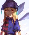 1girl bangs belt black_belt black_shirt black_sleeves blonde_hair blood blue_background blue_shirt blue_sleeves clownpiece hair_between_eyes hat highres jester_cap light long_hair looking_away mozuno_(mozya_7) multicolored multicolored_clothes multicolored_shirt open_mouth polka_dot puffy_short_sleeves puffy_sleeves purple_headwear red_eyes red_shirt red_sleeves shadow shirt short_sleeves simple_background solo touhou