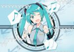 1girl agonasubi aqua_eyes aqua_hair aqua_nails aqua_neckwear arrow_(symbol) bare_shoulders beamed_eighth_notes black_sleeves blue_background commentary detached_sleeves eighth_note folder grey_shirt hair_ornament half_note hand_up hatsune_miku headphones headset holding_folder long_hair looking_at_viewer musical_note nail_polish necktie niconico_comments one_eye_closed open_mouth quarter_note shirt shoulder_tattoo sleeveless sleeveless_shirt smile solo speech_bubble spoken_musical_note tattoo twintails upper_body vocaloid watashi_no_jikan_(vocaloid)