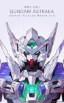 absurdres artist_name azzalea character_name english_commentary gradient gradient_background green_eyes gundam gundam_00 gundam_00f gundam_astraea highres looking_at_viewer mecha mobile_suit no_humans portrait science_fiction solo v-fin