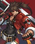 1boy bangs belt black_belt black_gloves brown_hair clenched_teeth cropped_jacket fingerless_gloves gloves guilty_gear guilty_gear_strive headband highres holding holding_weapon huge_weapon jacket junkyard_dog_mk_iii long_hair makimura_shunsuke muscular muscular_male open_clothes open_jacket pants red_background red_headband red_jacket sleeves_rolled_up sol_badguy teeth weapon white_pants zipper_pull_tab