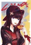 1girl absurdres animal_ears arknights bandaid bandaid_on_head baseball_cap bear_ears black_hair black_headwear black_jacket blue_eyes brown_hair character_name chinese_commentary commentary_request cookie cyrillic earphones food food_in_mouth guaikee hair_ornament hat highres holding holding_cookie holding_food jacket looking_at_viewer medium_hair official_alternate_costume open_clothes open_jacket red_shirt shirt short_sleeves upper_body weibo_logo weibo_username zima_(arknights) zima_(ursusio79)_(arknights)