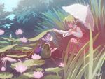 2girls :o arm_up ascot backlighting blue_hair chabi_(amedama) closed_mouth collared_shirt dated day eye_contact flower frilled_umbrella frills from_side green_hair green_kimono hand_up hands_up head_fins holding holding_umbrella japanese_clothes kazami_yuuka kimono lake leaf leaf_on_head lily_pad long_skirt long_sleeves looking_at_another mermaid monster_girl multiple_girls nature no_lineart obi outdoors outstretched_arm parasol parted_lips partially_submerged pink_flower plaid plaid_skirt plaid_vest plant profile puffy_long_sleeves puffy_sleeves red_eyes red_skirt red_vest sash shirt short_hair skirt skirt_set smile squatting tareme touhou tree umbrella vest wakasagihime water white_shirt white_umbrella wide_sleeves wing_collar yellow_neckwear