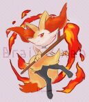 animal_ear_fluff braixen character_name closed_mouth commentary_request fire full_body furry gen_6_pokemon highres holding holding_stick kikuyoshi_(tracco) looking_at_viewer orange_eyes pokemon pokemon_(creature) signature smile solo stick toes