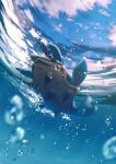 air_bubble blurry bubble closed_eyes clouds commentary day from_below full_body gen_1_pokemon highres lapras no_humans pokemon pokemon_(creature) sky underwater upside-down water_surface yukichi_(tsuknak1)