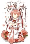 1girl animal_ears breasts closed_eyes clover dress elphelt_valentine fake_tail four-leaf_clover guilty_gear guilty_gear_xrd hair_between_eyes hairband highres large_breasts petals pink_hair rabbit_ears short_hair spiked_hairband spikes tail white_dress