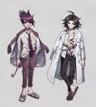 ahoge aoki_(fumomo) bangs black_hair black_pants book coat coat_on_shoulders collarbone commentary_request cosplay costume_switch danganronpa/zero danganronpa_(series) danganronpa_v3:_killing_harmony full_body grey_background half-closed_eyes hand_in_pocket holding jacket jacket_on_shoulders labcoat long_hair looking_up male_focus matsuda_yasuke momota_kaito multiple_boys multiple_views necktie open_book open_clothes open_coat open_shirt pants pink_jacket pink_pants print_shirt sandals shirt shirt_half_tucked_in shoes simple_background space_print starry_sky_print sword translation_request violet_eyes weapon