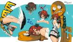 1girl a.b.a absurdres bandages blood chain character_sheet fingerless_gloves gloves green_eyes guilty_gear guilty_gear_xx highres key key_in_head paracelsus portrait redhead relusionh short_hair sleeping stitched_mouth stitches surprised
