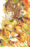 1girl absurdres bangs brown_hair closed_eyes flower hair_flower hair_ornament highres leaf long_hair orie_h original portrait profile simple_background white_background