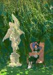 1girl black_headwear chair cup dappled_sunlight grass gundam gundam_00 hat high_heels highres holding holding_cup holding_plate huangdanlan leaf medium_hair plant plate profile purple_hair short_sleeves sitting solo statue sunlight tieria_erde white_footwear wide_shot witch_hat
