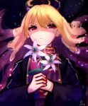1girl bangs blonde_hair chinese_clothes closed_mouth flower highres junko_(touhou) lily_(flower) looking_at_viewer mozuno_(mozya_7) one-hour_drawing_challenge red_eyes solo touhou water
