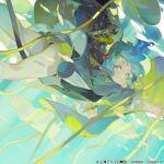 1girl blue_eyes blue_hair blue_jacket hair_ornament hairclip jacket kawashiro_nitori looking_at_viewer plant_request rei_(sanbonzakura) shorts solo touhou wrench yellow_shorts