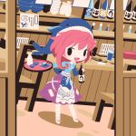 1girl :d alcohol animal_print apron blue_apron blue_headwear blue_shirt bottle bow chibi choko_(cup) cobalta commentary_request cup eyebrows_visible_through_hair fish_print footwear_bow okunoda_miyoi open_mouth pink_hair pink_skirt restaurant sake sake_bottle shirt short_hair skirt smile solid_oval_eyes tokkuri touhou waitress whale_hat whale_print white_footwear