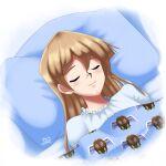 1girl bed blanket blonde_hair blush closed_eyes closed_mouth deviantart_username long_hair pillow sincity2100 sleeping smile tenjouin_asuka winged_kuriboh yu-gi-oh! yuu-gi-ou yuu-gi-ou_gx