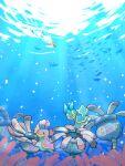 black_eyes bubble closed_eyes commentary_request fish gen_3_pokemon gen_4_pokemon highres kikuyoshi_(tracco) lileep no_humans pokemon pokemon_(creature) shellos shellos_(east) shellos_(west) silhouette smile underwater wingull