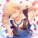 1boy belt blonde_hair granblue_fantasy green_eyes jewelry kuren looking_at_viewer male_focus muscular muscular_male one_eye_closed open_clothes open_mouth pants pectorals petals ribbon ring rose_petals shiny shiny_hair shirt short_hair smile solo upper_body vane_(granblue_fantasy) vest white_shirt