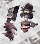 :/ aoki_(fumomo) bangs black_cape black_headwear black_skirt brown_eyes buttons cape checkered checkered_scarf chibi closed_eyes commentary_request danganronpa_(series) danganronpa_v3:_killing_harmony door double-breasted flipped_hair grey_background hair_between_eyes hair_ornament hair_scrunchie harukawa_maki holding holding_pipe jacket jacket_on_shoulders long_hair long_sleeves looking_at_another mole mole_under_eye momota_kaito open_door open_mouth ouma_kokichi pants pink_blood pink_jacket pink_pants pipe red_scrunchie red_shirt running saihara_shuuichi scarf scrunchie serious shirt short_hair skirt translation_request