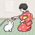 1girl 2021 animal animal_on_lap animal_print animated animated_gif bangs black_hair blinking blush_stickers bunny_print calendar_(object) closed_mouth english_commentary food from_side fruit full_body hands_on_lap hands_up holding holding_food holding_fruit indoors japanese_clothes kagami_mochi kimono long_sleeves looking_away mandarin_orange mochi new_year obi on_floor original outstretched_arm print_kimono profile rabbit red_kimono room sash schinako seiza short_hair sitting smile solo surreal tatami v_arms wall wide_sleeves