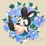 alternate_color blue_eyes commentary_request emolga flower full_body gen_5_pokemon hand_up highres kikuyoshi_(tracco) leaf no_humans outstretched_arm parted_lips pokemon pokemon_(creature) signature solo