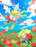 :d blurry blush clouds commentary_request day eye_contact flower flying gen_4_pokemon grass green_eyes highres kikuyoshi_(tracco) looking_at_another mythical_pokemon no_humans open_mouth outdoors pokemon pokemon_(creature) shaymin shaymin_(land) shaymin_(sky) sky smile tongue