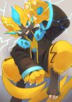 blue_eyes brown_jacket claws clothed_pokemon commentary_request electricity furry gen_7_pokemon grin hand_up highres jacket kikuyoshi_(tracco) long_sleeves looking_at_viewer mythical_pokemon open_clothes open_jacket pokemon pokemon_(creature) smile solo teeth yellow_fur zeraora