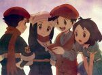 2boys 2girls alternate_costume bangs black_hair black_undershirt bob_cut book brown_eyes brown_hair buttons closed_mouth collared_shirt commentary_request dress eyelashes female_protagonist_(pokemon_legends:_arceus) frills gloria_(pokemon) grey_shirt hands_on_hips hat head_scarf highres holding holding_book hungry_seishin long_sleeves male_protagonist_(pokemon_legends:_arceus) multiple_boys multiple_girls open_mouth pants pokemon pokemon_(game) pokemon_legends:_arceus pokemon_swsh red_headwear red_scarf sash scarf shirt short_hair short_sleeves smile swept_bangs tongue vest victor_(pokemon) white_headwear
