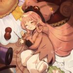 1girl baggy_pants buttons closed_eyes fate/grand_order fate_(series) guri_(grise_0823) habetrot_(fate) hat highres long_hair lying needle nose_bubble on_side pants pink_hair pointy_ears sewing_needle sleeping spool twitter_username