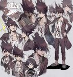 2boys :d aoki_(fumomo) bangs brown_hair checkered checkered_neckwear checkered_scarf chibi clenched_hand collarbone commentary_request danganronpa_(series) danganronpa_v3:_killing_harmony expressions facial_hair frown full_body goatee grey_background hair_between_eyes hand_on_hip hand_up hands_on_hips jacket long_hair long_sleeves looking_at_viewer male_focus momota_kaito multiple_boys open_mouth ouma_kokichi pants print_shirt scarf school_uniform shaded_face shirt short_hair simple_background smile solo_focus spiky_hair standing sweat translation_request trembling upper_body white_shirt