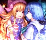 2girls american_flag_shirt bangs black_background blonde_hair blue_bow blue_dress blue_hair blue_shirt bow breasts cirno clownpiece collar detached_sleeves dress eyebrows_visible_through_hair fairy_wings fire hair_between_eyes hat highres ice ice_wings jester_cap long_hair looking_at_viewer medium_breasts mozuno_(mozya_7) multicolored multicolored_clothes multicolored_shirt multiple_girls open_mouth pink_eyes pink_headwear red_shirt shirt short_hair short_sleeves simple_background sleeveless sleeveless_shirt smile star_(symbol) star_print striped striped_shirt touhou violet_eyes white_shirt white_sleeves wings