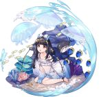 1girl :o ankle_ribbon ark_order artist_request bangs barefoot black_hair black_panties black_ribbon coral dress fish frilled_dress frills hair_ornament jellyfish long_hair long_sleeves looking_at_viewer low_twintails nakisawame_(ark_order) official_art panties red_eyes ribbon rock sand sea_anemone side-tie_panties sitting solo spaghetti_strap star_(symbol) star_hair_ornament starfish tachi-e toenails twintails underwear wariza water waves wet wet_clothes wet_dress white_dress
