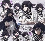 1boy angry aoki_(fumomo) bangs black_headwear book buttons cape checkered checkered_neckwear checkered_scarf clenched_hand commentary_request crossed_arms danganronpa_(series) danganronpa_v3:_killing_harmony double-breasted foaming_at_the_mouth grey_background hair_between_eyes hand_up jacket long_sleeves looking_at_viewer male_focus open_book ouma_kokichi pointing pointing_at_viewer scarf shaded_face short_hair simple_background smile star-shaped_pupils star_(symbol) straitjacket sweat symbol-shaped_pupils violet_eyes