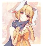1girl animal_ears bangs bare_shoulders blonde_hair blood bloody_weapon border bow brown_gloves closed_mouth eyebrows_visible_through_hair fingerless_gloves gloves green_scarf hands_up head_tilt holding holding_knife knife looking_at_viewer orange_bow rabbit_ears red_nails scarf shiny shiny_hair short_hair smile solo utau weapon white_border yen-mi