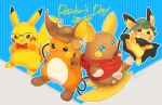 :d alolan_form alolan_raichu blue_eyes brown_headwear character_name closed_mouth clothed_pokemon commentary_request evolutionary_line gen_1_pokemon gen_2_pokemon gen_7_pokemon glasses green_headwear hat hatted_pokemon holding_magnifying_glass hood hooded_jacket jacket kikuyoshi_(tracco) no_humans open_mouth pichu pikachu pokemon pokemon_(creature) raichu red_jacket smile standing toes tongue