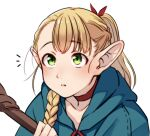 1girl alternate_hairstyle blonde_hair blue_robe braid choker dungeon_meshi elf hair_around_ear hair_ribbon highres holding holding_staff kakaobataa long_hair looking_up marcille pointy_ears ponytail red_choker ribbon side_braid single_braid solo staff white_background younger
