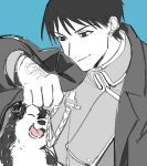 1boy ^_^ aiguillette amestris_military_uniform animal arm_up biiko_(king1015g) black_coat black_eyes black_hair black_hayate blue_background close-up closed_eyes closed_mouth clothes_grab clothes_lift coat collared_jacket dog eyebrows_visible_through_hair facing_viewer fullmetal_alchemist gloves greyscale highres jacket laughing light_smile limited_palette looking_at_animal looking_down lower_teeth magic_circle male_focus military military_uniform monochrome muted_color open_clothes open_coat open_mouth roy_mustang simple_background spiky_hair teeth tsurime under_clothes uniform upper_body white_gloves