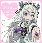 1girl :d chaika_trabant dress english_text engrish_text food fruit grapes heart highres hitsugi_no_chaika holding holding_food holding_fruit incoming_food long_hair long_sleeves looking_at_viewer maid_headdress open_mouth ranguage smile solo typehatena very_long_hair violet_eyes white_dress white_hair