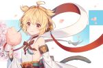 andira_(granblue_fantasy) animal_ears antenna_hair backless_outfit bangs bare_shoulders blonde_hair cherry_blossoms chewing closed_mouth commentary_request cotton_candy detached_sleeves earrings erune food fur-trimmed_sleeves fur_trim granblue_fantasy headband holding holding_food jewelry jiman looking_at_viewer monkey_ears monkey_tail obi orange_eyes red_neckwear sash short_hair tail upper_body wide_sleeves